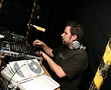 Photo of James Weston DJing by Claire Williams.